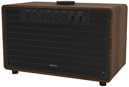 Revo SuperTone Bluetooth 4.2 Lautsprecher (80 Watt, Stereo Sound, Subwoofer, Kopfhörer Ausgang, inkl. Netzteil) walnuss-schwarz