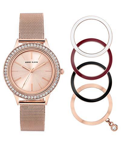 Anne Klein Reloj de pulsera analógico para mujer de cuarzo, color oro rosa, con correa de acero inoxidable AK/3166INST