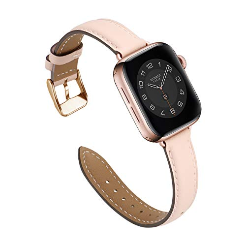 M MARGMATIVO Compatible with Apple Watch Band 38mm 40mm, Soft Leather Wristbands Replacement Strap with Classic Clasp for iWatch Series SE 6 5 4 3 2 1 for Women Men Sport(PinkSand/RoseGold,38mm 40mm)