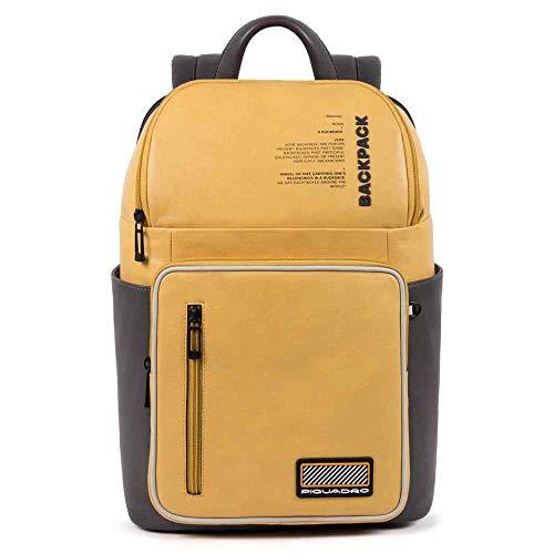 PIQUADRO Rucksack für Laptops 35,6 cm (14 Zoll), echtes Leder, Linie Ermes 28 x 39 x 14 cm, mit Taschen für Flaschen und Regenschirmhalter CA5145W106/Gelb
