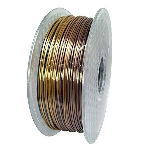 Seide Regenbogen PLA 3D Drucker Filament 1,75mm 0,25/0,5 / 1kg Filament seidig Glanz 3D Druckmaterialien Glänzend Metallfilament (Color : 250g Rainbow)