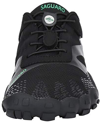 SAGUARO Hombre Mujer Zapatos Minimalistas Comodas Respirable Zapatillas de Trail Running Ligeras Calzado Barefoot Antideslizante para Gimnasio Fitness Senderismo Montaña, Negro 43 EU