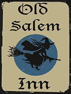 Joeaney Tin Sign New Metal Sign Old Salem Inn, Vintage Halloween Witch on Broomstick for House, Home or Business 7.8 x 11.8 inches
