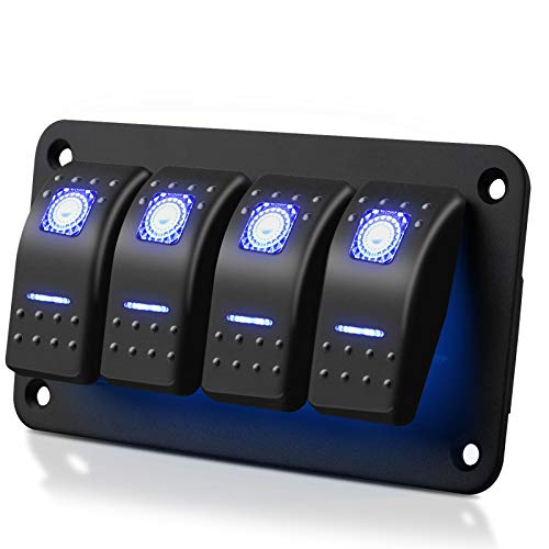 SUNJOYCO 4 Gang Rocker Switch Panel, Waterproof 5 Pin On-Off Toggle Switches 12V/24V with Blue LED Light for RV Marine Boat Car Vehicles Truck