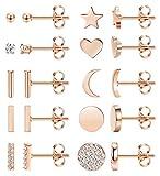 Cassieca 10 Pares Acero Inoxidable Pendientes Para Mujer Circoniña Stud Pendientes Piercing Corazón Luna Barra Pendientes Set Plata Oro Rosa