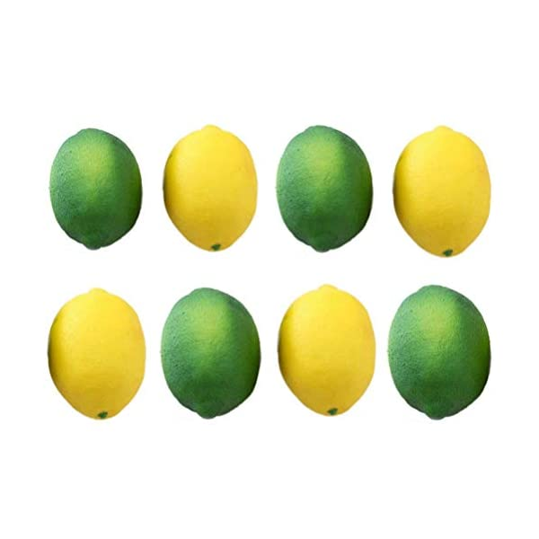 UANG 8 Pack Artificial Fake Lemons Limes Fruit for Vase Filler Home Kitchen Party Decoration, Yellow and Green