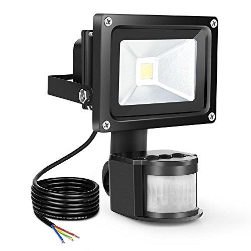 Proiettore Luce Faro LED Faretto Esterno con Sensore di Movimento 10W 900LM Impermeabile IP65 6000K Lampade da Parete