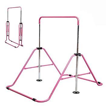 Slsy Gymnastics Bars Kids Kip Training Bars for Home Folding Horizontal Bars with Adjustable Height Practice Bar Gymnastic for Kids Child Girls Boys  Pink Pro