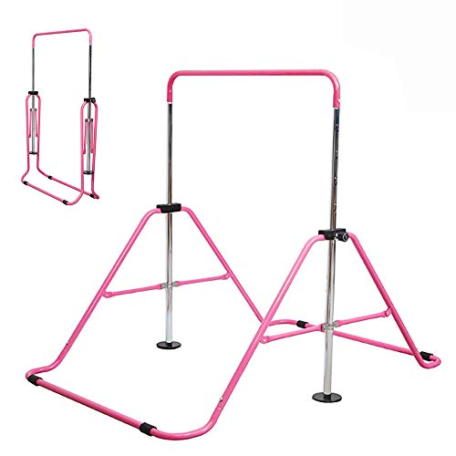 Slsy Gymnastics Bars Kids Kip Training Bars for Home, Folding Horizontal Bars with Adjustable Height, Practice Bar Gymnastic for Kids, Child, Girls, Boys (Pink Pro)