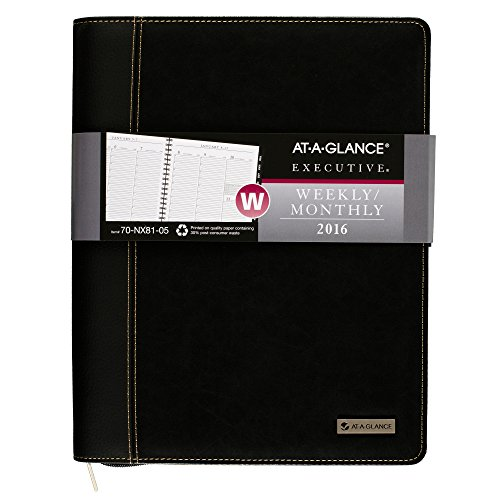 AT-A-GLANCE Weekly / Monthly Appointment Book / Planner 2016, Executive, 8-1/4 x 10-7/8 Inches, Black (70-NX81-05)
