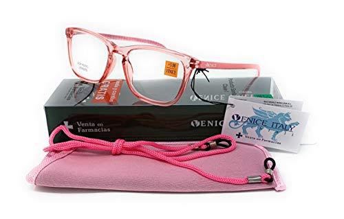 Gafas de lectura, presbicia, vista cansada, Mujer Diseño en Colores: Transparente, Marrón, Azul y Rojo. VENICE Crystal - Dioptrías: 1 a 3,5 (Rojo, 3,00)