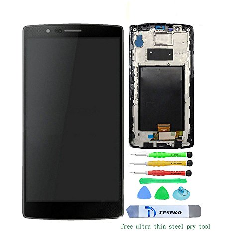 Teseko LCD Display Touch Screen Digitizer + frame For LG G4 H810 H811 H815 VS986 LS991 ( Black with High quality tools )