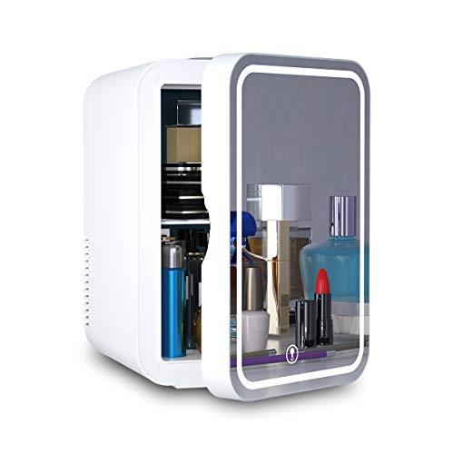 Mini-Kühlschrank 6 Liter AC / DC tragbarer Schönheitskühlschrank Thermoelektrischer Kühler und Wärmer für Hautpflege, Schlafzimmer und Reisen (Spiegel- und LED-Design)