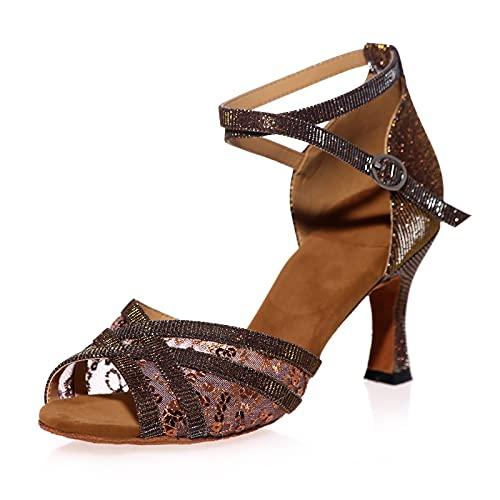 Love Shoes Zapatos De Baile Salsa Tango Moderna Vals Sandalias De Tira De Hebilla De Metal Salón Suela Blanda Fiesta Zapatos De Baile,Marrón,39EU/6.5UK