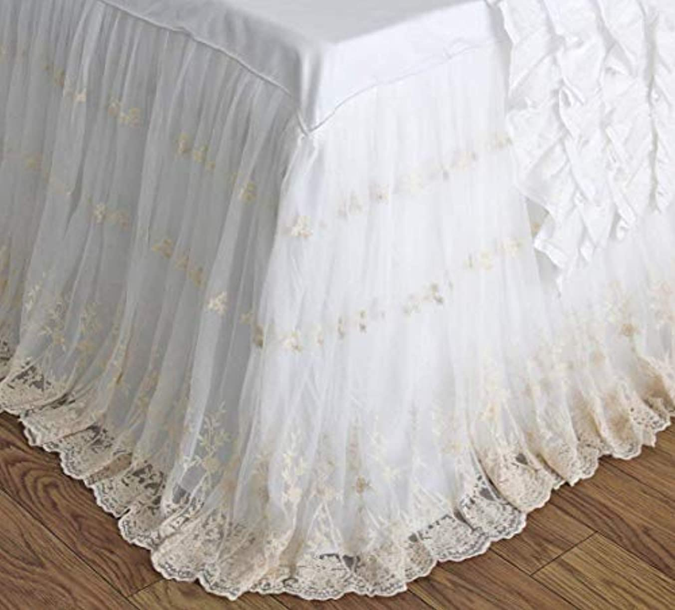 Queen's House Ivory Luxury Lace Ruffle Shabby Bed Skirt Split Corners Coverlets Bedspreads Dust Ruffles-King,30'' Drop