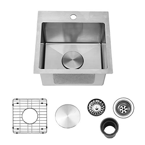Vapsint 15x15 Inch Stainless Steel Brushed Nickel Drop In Topmount Prep Bar Kitchen Sink, Kitchen Sink with Grid and Strainer