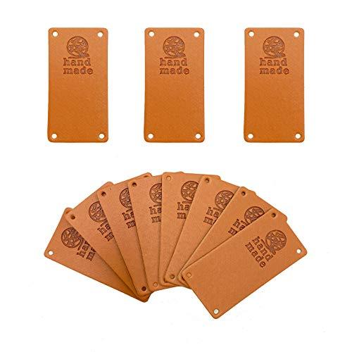 Wenplus 40 etiquetas de piel sintética hechas a mano con relieve hecho a mano para adornar tejidos, accesorios de ropa para vaqueros, bolsos, zapatos, sombrero, bola de hilo