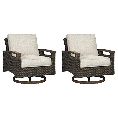 Signature Design by Ashley - Paradise Trail Outdoor Swivel Lounge Chair - Set of 2 - All-Weather Wicker Frame - Medium Brown