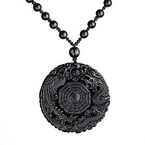 YUANYUAN520 Suerte Colgante Collar Natural De Obsidiana Tallada Joyería China De Phoenix del Dragón Bagua Hombres Mujeres Regalo Joyería