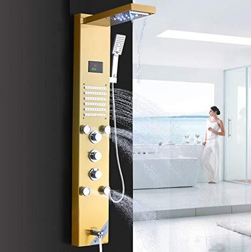 LED Duschpaneel aus rostfreiem Edelstahl mit 5 Funktionen, Temperaturanzeige und 10 Massagedüsen (Golden)