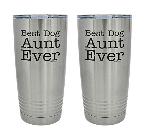 Dog Aunt Mug For Best Dog Aunt Ever 2-Pack 20oz. Stainless Steel Insulated Travel Mug With Lid Silver