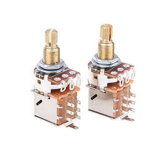 Musiclily Pro Messing Full Metrische Größe Split Shaft Control Poti B500K Push/Pull Linear Taper Potentiometers für Gitarre (2er Set)