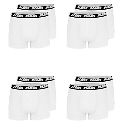 KTM Boxer Men Herren Boxershorts Pant Unterwäsche 8 er Pack, Farbe:White, Bekleidungsgröße:L