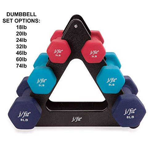 j/fit Dumbbell Set w/Durable Rack | Solid Design | Double Neoprene Coated Workout Weights Non-Chip and Flake | Dumbbells Sets For Gyms, Pilates, MMA, Training (32lb Set)