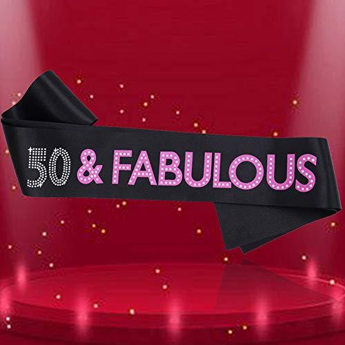 URSKYTOUS 50 Fabulous Black Satin Sash 50th Birthday Sash Birthday Party Favors, Supplies and Decorations