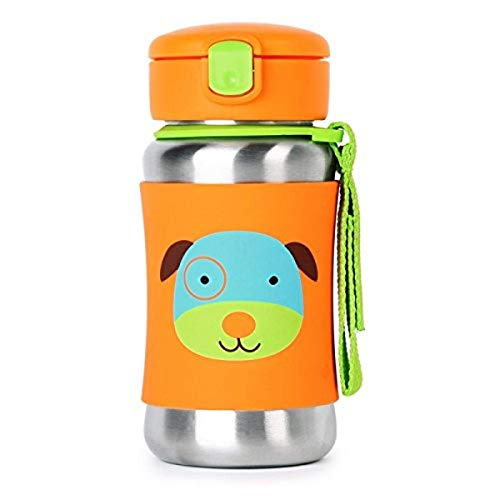 Skip Hop Toddler Sippy Cup with Straw, Zoo Stainless Steel Straw Bottle, Dog