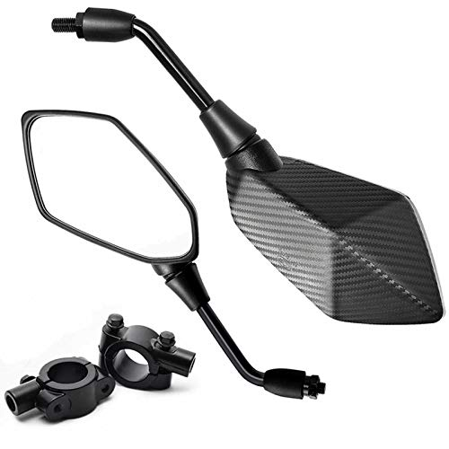 【2021 Upgraded】Motorcycle Convex Rear View Mirror, Mirrors for Bike,Motorcycle,Atv,Scooter, With 10mm Bolt, 7/8' Handle Bar Mount Clamp for Cruiser, Suzuki, Honda, Victory and More