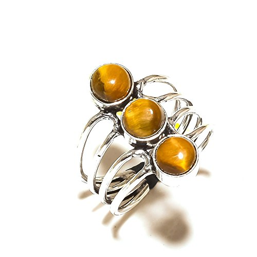 Brown TIGER EYE! Exotic RING! Gift For Girlfriend, Silver Plated! HANDMADE Jewelry Art! All Variety Store Ring Size 8.5 US (Adjustable)