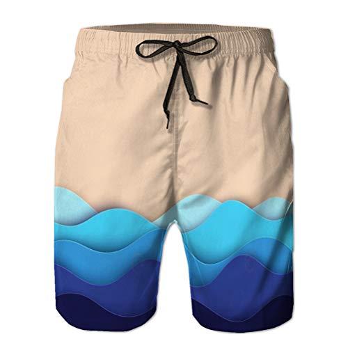 Shorts para Hombres Shorts de baño Shorts de Playa de Verano Resumen Papel Arte mar océano Agua Olas Playa Verano Costa Corte Profundo Estilo Abstracto XL