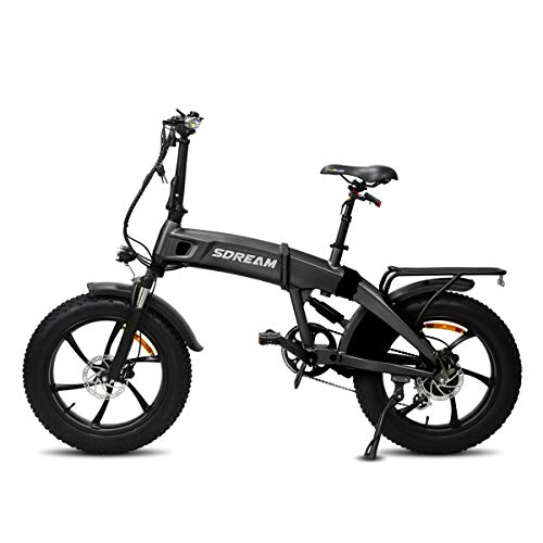 SDU Folding Electric Bike SDREAM X750S Gray, Ebike for Mountain and Beach, 4.0″ Fat Tire with 20″ Wheels, Front and Rear Suspensions, 20 MPH 750W Motor, 48V/10.4Ah Battery