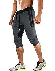 MAGCOMSEN - Pantalones cortos deportivos para hombre, de algodón 3/4, pantalones de chándal con cintura elástica con bolsillos con cierre de cordón
