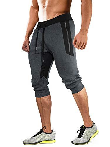 MAGCOMSEN Pantalon Survetement D 'Homme Pantalon Course Pantalon Casual Taille Elastique 3/4 Pantalons Court D'Entraînement Bas De Survêtement Pantalon D'Été
