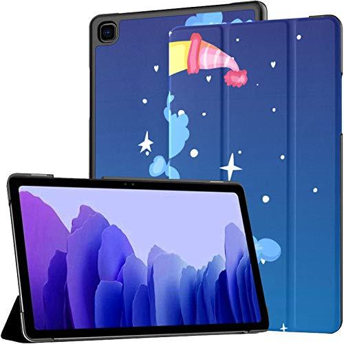 Funda de piel sintética para Samsung Galaxy Tab A7 de 10,4 pulgadas de 2020, diseño de luna creciente, color amarillo