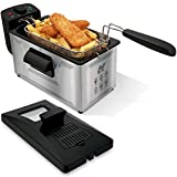 NETTA 3L Deep Fat Fryer with a Viewing Window, Temperature Control, Non-Slip Feet, Easy Clean, Powerful 1800 Watts, Stainless Steel and Black
