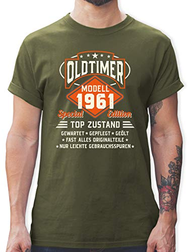 Geburtstagsgeschenk Geburtstag - Oldtimer Modell 1961 - L - Army Grün - Tshirt Herren mit Aufdruck - L190 - Tshirt Herren und Männer T-Shirts
