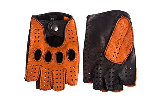 Damen Autofahrer Handschuhe Radfahrhandschuhe Aus Leder Orange Braun (7.5, Orange Braun)
