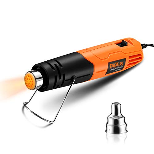 TACKLIFE Heat Gun, Dual Temp Hot Air Gun with 380W High Power, 7.2Ft Cable Mini Heat Gun for Epoxy Resin Supplies/Crafts/Shrink Wrapping/Soldering/Vinyl Wrap/Wire Connectors/Candle Making - HGP40AC