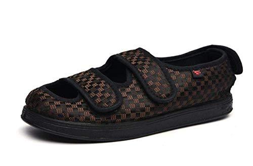 DXDUI Zapatos diabéticos para Hombres, pies hinchados, Zapatos Gruesos para Personas Mayores, Ropa más Suelta y lesionada, Zapato de Velcro para Hombre