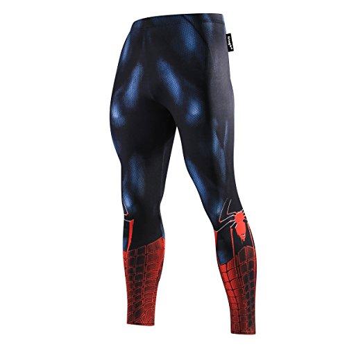 Fringoo® Herren Kompressions-Leggings, Superhelden-Strumpfhose, Pro Baselayer, Fitnessstudio, lange Laufen, Thermo-Workout, Spider Superman Gr. 34-37, Spiderman Schwarz / Rot - Strumpfhose
