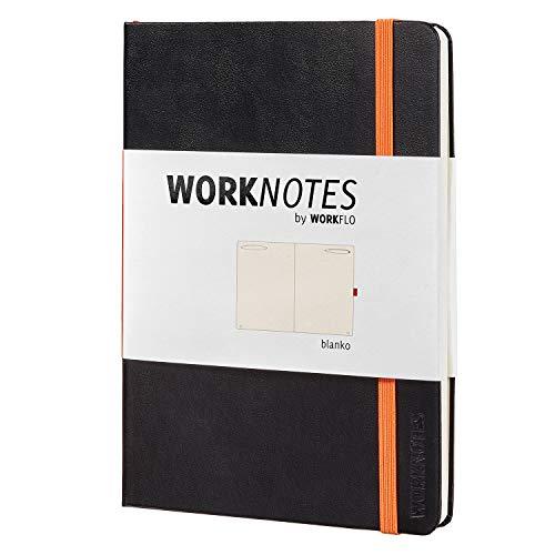 WORKNOTES Notizbuch a5 Blanko - Das Notizbuch für Kreative und Macher von Workflo, 192 perforierte Seiten, Hardcover, schwarz