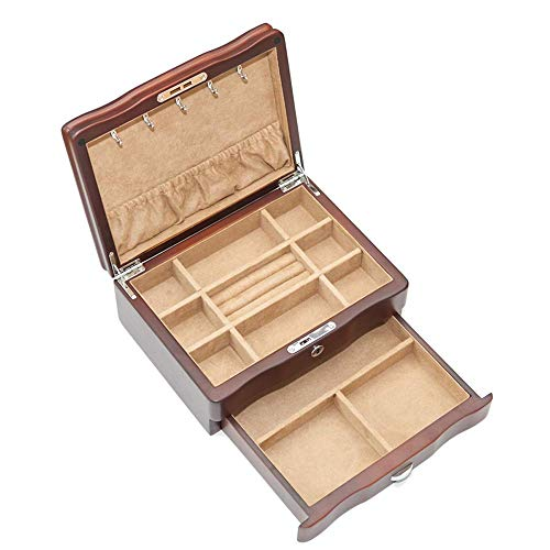 ZYYH Large Jewelry Organizer Box, 2-Layer Solid wood Jewellery Box with Velvet and Safety Lock, for Woman and Girl, for Watch Necklace Ring Earring Bracelet