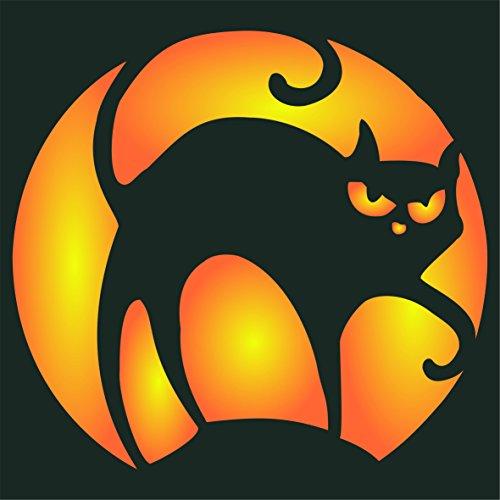 Katze Halloween Schablone–wiederverwendbar Creepy Urlaub gruselige Hexen Katze Wand Schablone–Vorlage, auf Papier Projekte Scrapbook Tagebuch Wände Böden Stoff Möbel Glas Holz etc. L