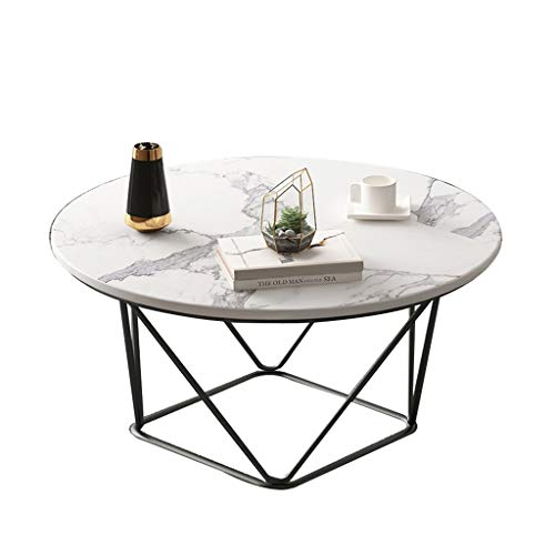 ZWJLIZI Coffee table, Nordic light ins style living room iron tea table, small apartment imitation marble small round table (Color : B, Size : 50X50X45CM)
