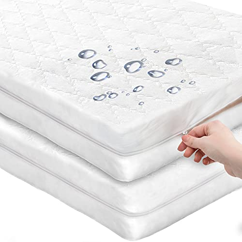 [2 Pack] COZYCUDDLES Premium Zippered Quilted Waterproof Crib Protector Cover - All 6-Sides Waterproof Fully Encasement - Standard Baby Crib Toddler Bedding (52' x 28')
