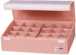 HOMESGU 24 Gird Closet Socks Underwear Organizer Boxes,Space Adjustable Socks Bras Storage Drawer Organizer(24-Grid(Space adjusted freely 46×31×12cm),Dot Pink)
