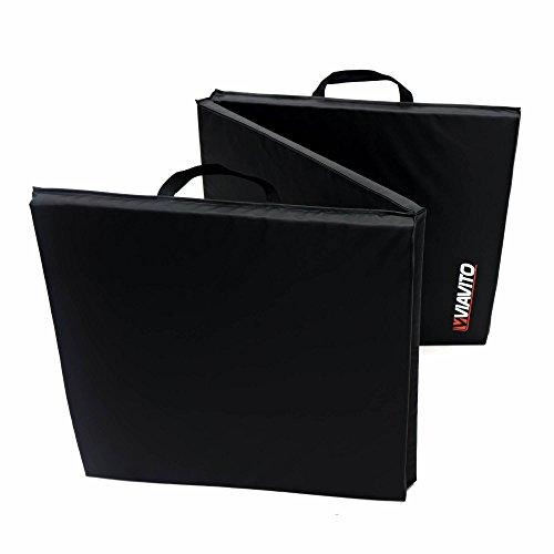 Viavito - esterilla Tri-fold de ejercicio mat con asas, plegabnle en tres partes–negro